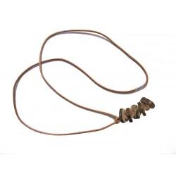 collier avec pendentif en rondelles de bois brut