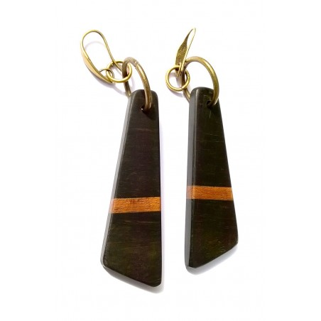 Boucles d'oreilles en ébène et bois exotique en forme de grand triangle