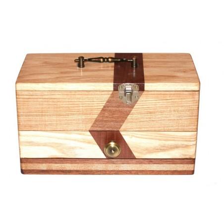 Boite à bijoux bi-ton déco en frêne (ou hêtre suivant arrivage) et bois exotique