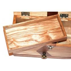 Boite à bijoux bi-ton déco en frêne et bois exotique et plateau pour bijoux, colliers, bagues