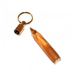 Porte-clés mini stylo en bois d'Olivier plaqué OR 10K