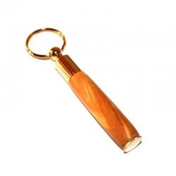 Porte-clés mini stylo en Olivier plaqué OR 10K
