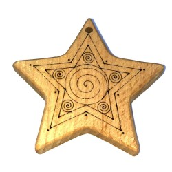 Etoile de Noël en bois massif, hêtre massif, gravure personnalisée motif à l'arrière