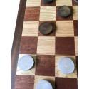 Damier avec pions en rondelles de bois bicolores